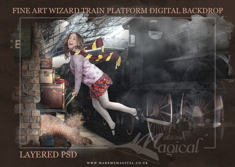 Magical Wizard Train Station Platform digital backdrop by Makememagical. Suitable for World Book Day or Harry Potter photography composites