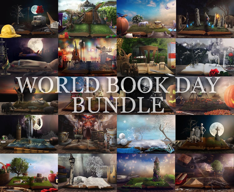 Princess digital backdrop pack, miniature book worlds backdrops, digital backgrounds, rapunzel, alice, belle, tinkerbell, snow white