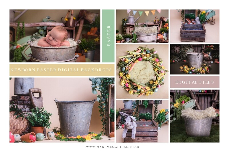 Easter studio backdrops for newborns and sitters - 30 image bundle