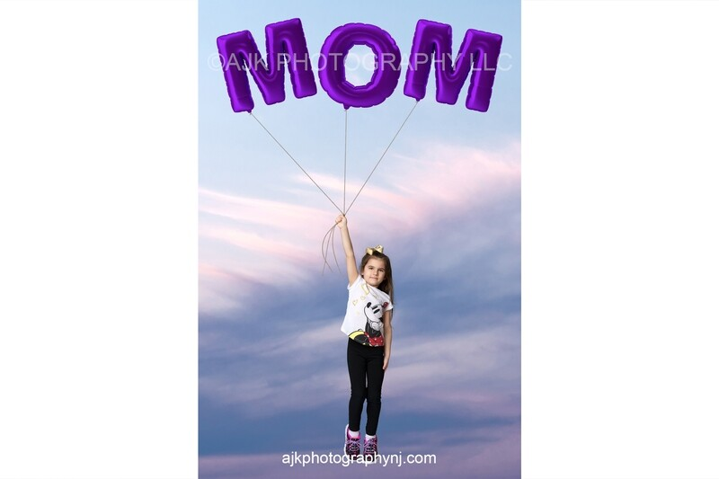 Happy Mother's Day digital background, giant purple balloons spelling MOM, blue sky, digital backdrop