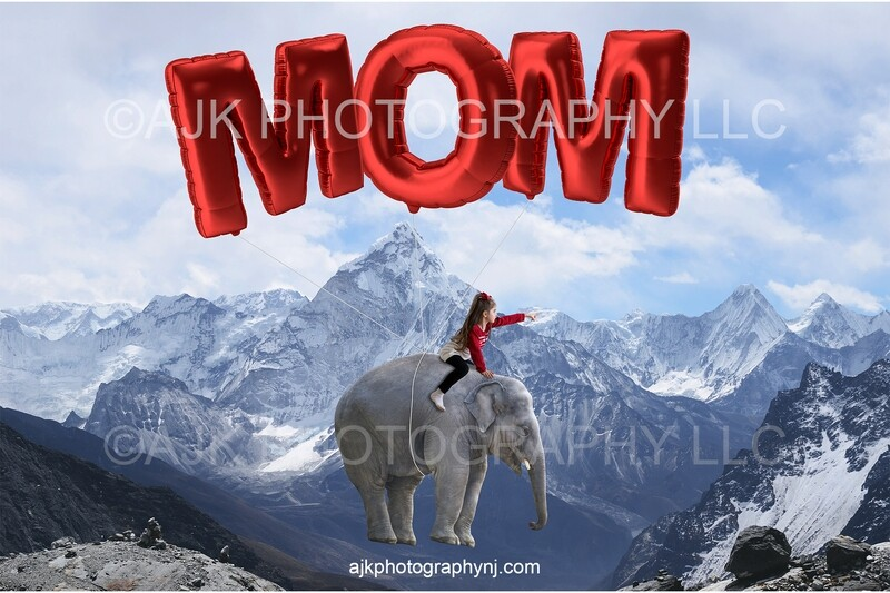 Mother's Day digital background, elephant floating with giant balloons spelling MOM, digital backdrop
