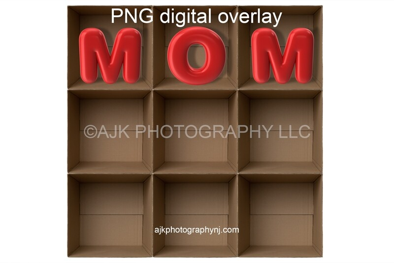 PNG overlay, 9 empty cardboard boxes template, giant red MOM letters, Mother's Day, PNG Digital Overlay