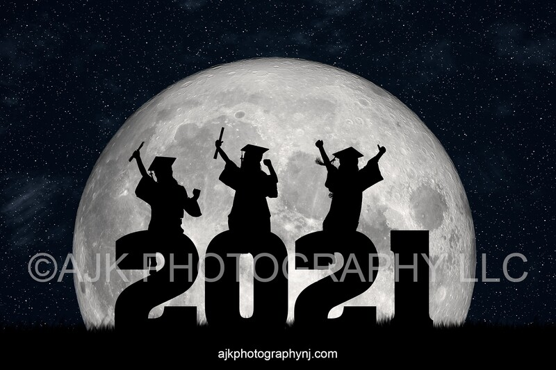 2021 graduation digital backdrop, 2021 silhouette numbers, large moon, field of grass, digital background