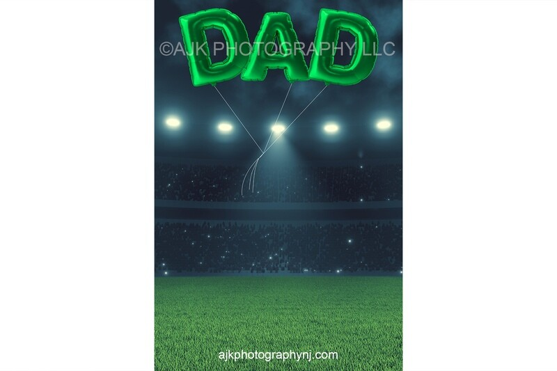 Father's Day digital background, green DAD shaped balloons floating over soccer field, digital backdrop