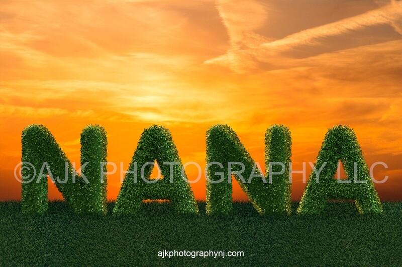 Mother's Day digital background, bush letters spelling NANA in grassy field and gold sky, digital backdrop