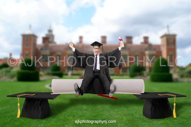 Graduation digital background, giant graduation cap and diploma, school digital backdrop