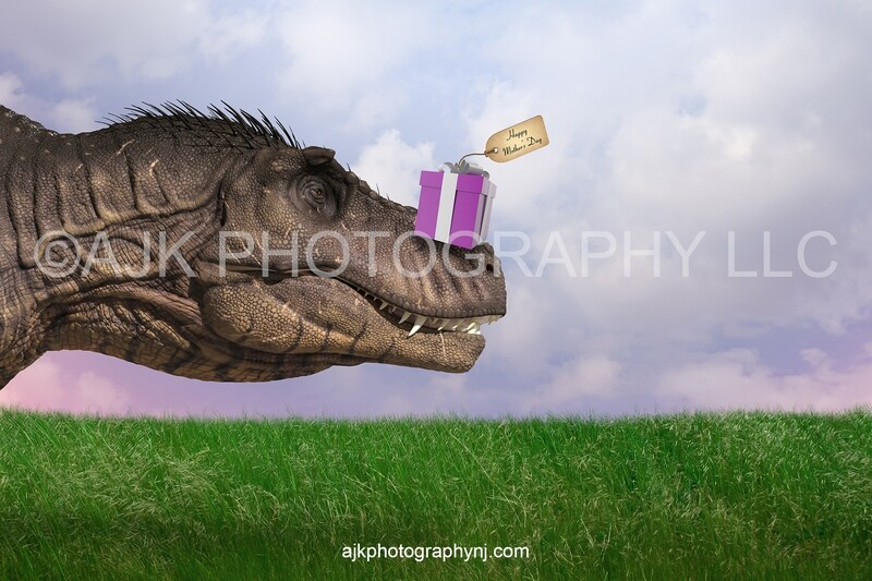 T-Rex with gift box on nose, Mother's Day digital background, Tyrannosaurus Rex, dinosaur digital backdrop