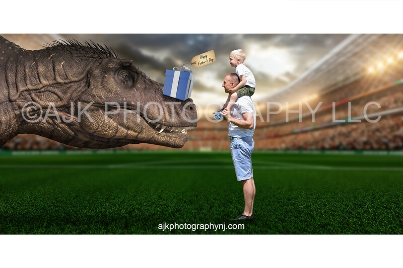 Father's Day digital background, T-Rex dinosaur with gift on nose, digital backdrop
