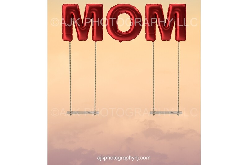 Happy Mother's Day digital background, giant red balloons spelling MOM, mother daughter swings, digital backdrop