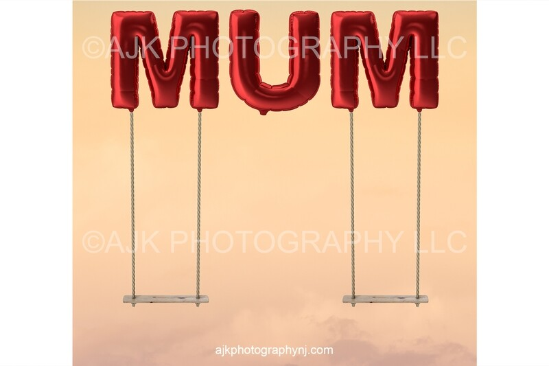 Happy Mother's Day digital background, giant red balloons spelling MUM, mother daughter swings, digital backdrop