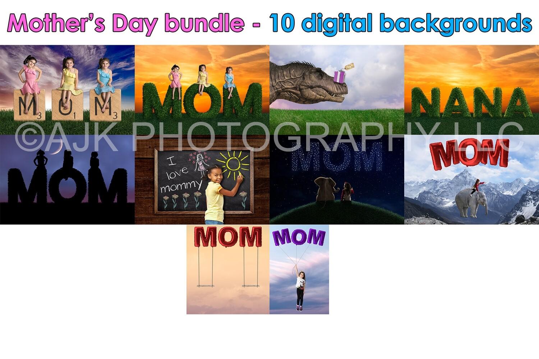Mother's Day digital backdrop bundle pack