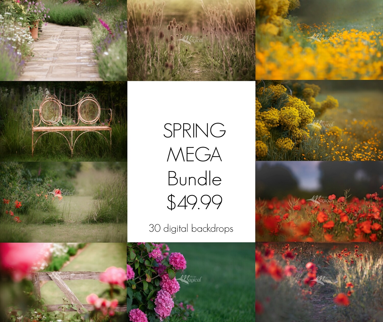 MEGA Spring digital backdrop pack by Makememagical. 30 Backdrops