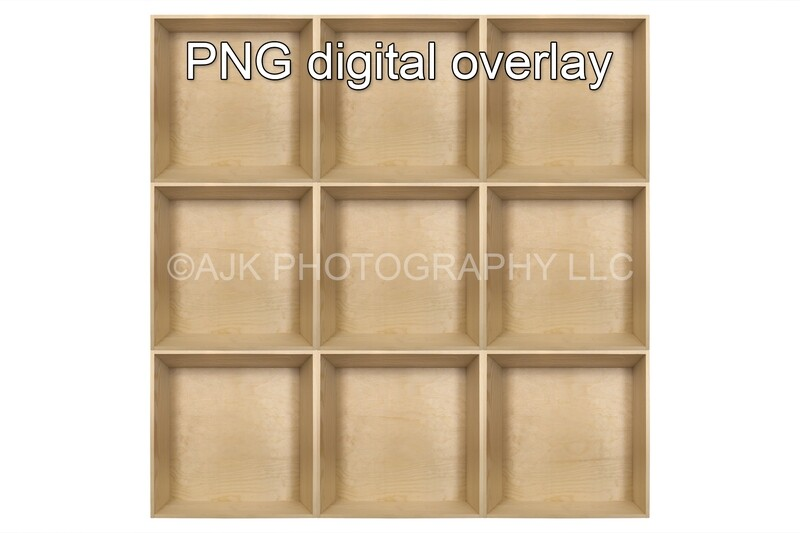 9 empty wood boxes template, inside the box, PNG Digital Overlay