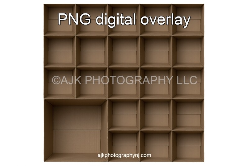 22 empty cardboard boxes template, class photo template, 1 teacher, 21 students, PNG Digital Overlay