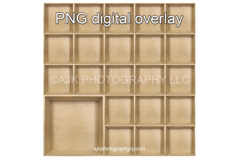 22 empty wood boxes template, class photo template, 1 teacher, 21 students, PNG Digital Overlay