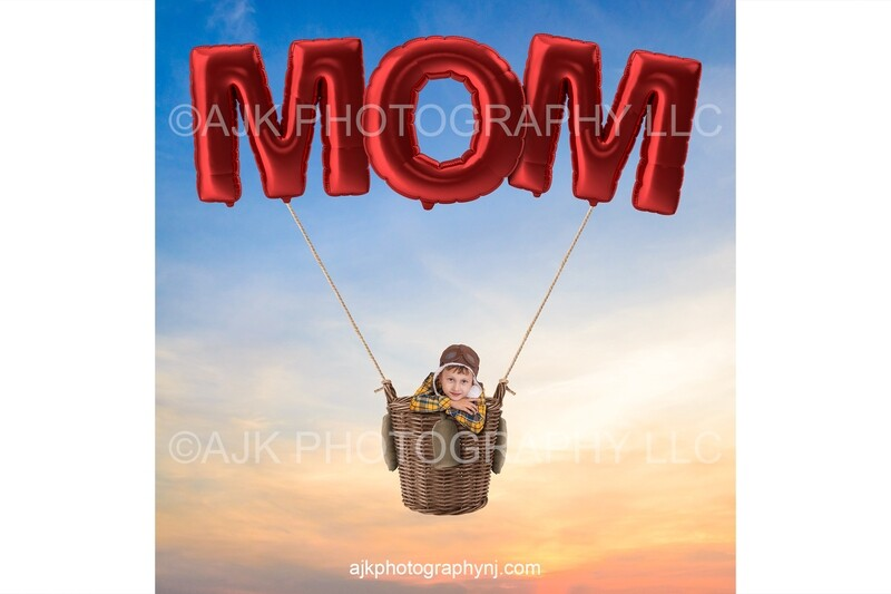 Happy Mother's Day digital background, giant red balloons spelling MOM, hot air balloon, digital backdrop