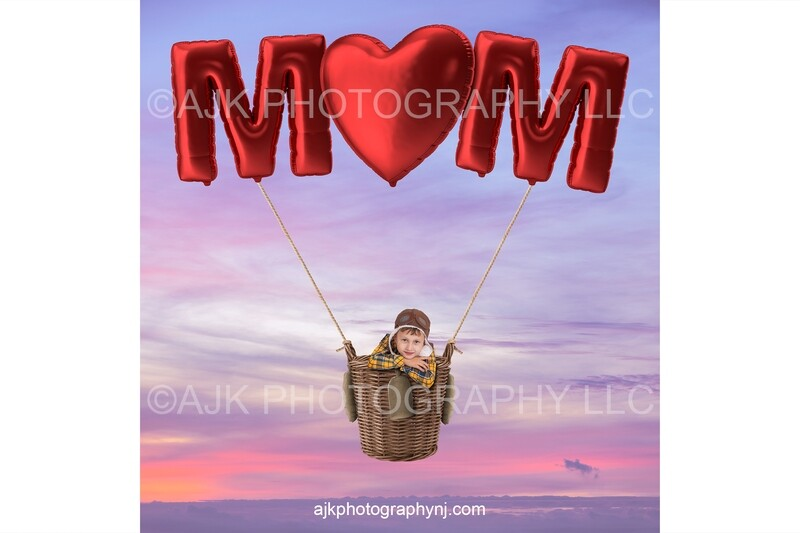 Happy Mother's Day digital background, giant red balloons spelling MOM, hot air balloon, red heart shaped balloon, digital backdrop
