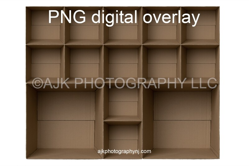 14 empty cardboard boxes template, class photo template, 2 teachers, 12 students, PNG Digital Overlay