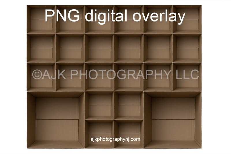 24 empty cardboard boxes template, class photo template, 2 teachers, 22 students, PNG Digital Overlay