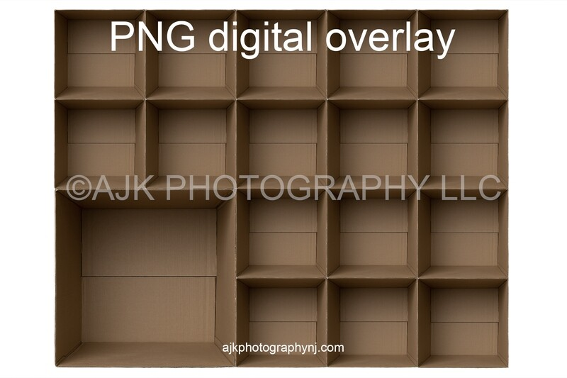 17 empty cardboard boxes template, class photo template, 1 teacher, 16 students, PNG Digital Overlay