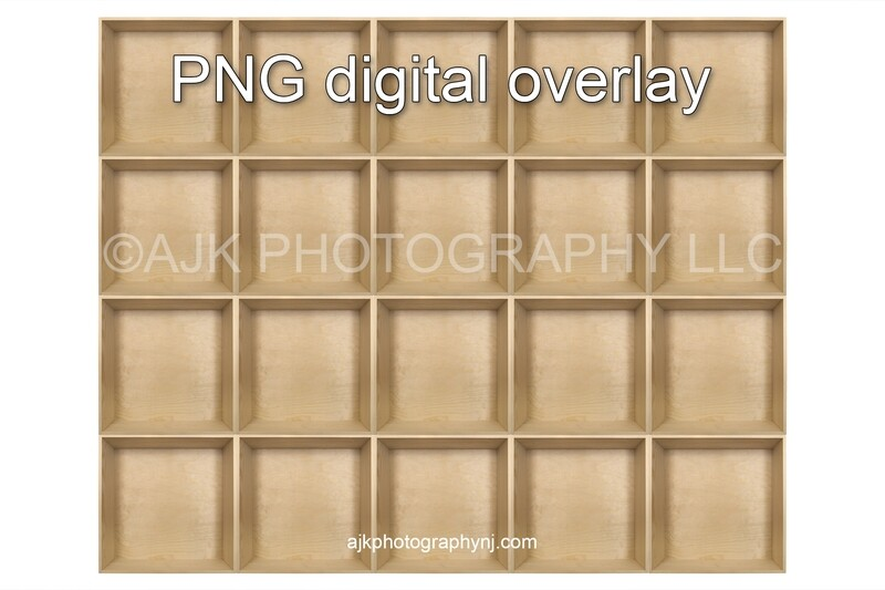 20 empty wood boxes template, class photo template, PNG Digital Overlay