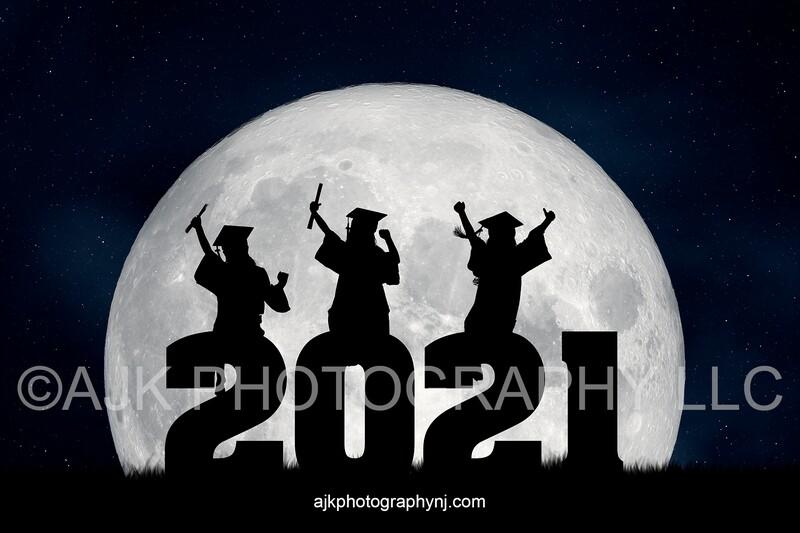 2021 graduation digital backdrop, 2021 silhouette numbers, large moon, field of grass, digital background #2