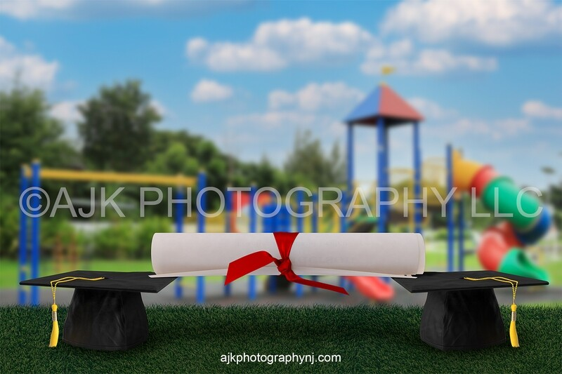 Graduation digital background, giant graduation caps and diploma, preschool, kindergarten, elementary, school digital backdrop