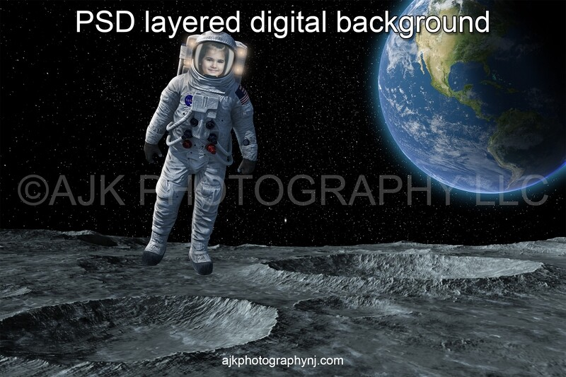 Astronaut digital background, one astronaut in outer space floating above the moon with the Earth behind, digital backdrop