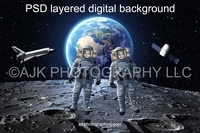 Astronaut digital background, two astronauts in outer space on the moon, with the Earth, space shuttle and satellite behind them
