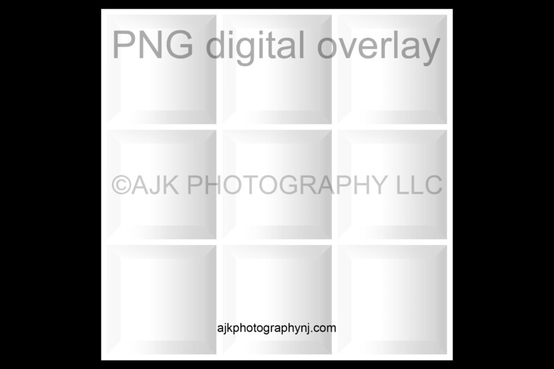 9 empty white boxes template, inside the box, class photo, PNG Digital Overlay