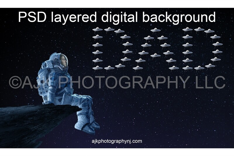 Father's Day digital background, astronaut sitting on asteroid in front of little spaceships spelling dad, astronaut digital backdrop