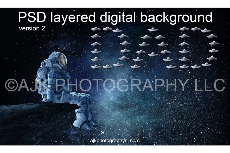 Father's Day digital background, astronaut sitting on asteroid in front of little spaceships spelling dad, astronaut digital backdrop version #2
