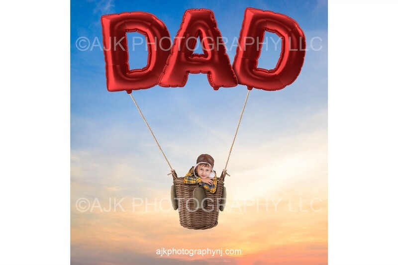 Happy Father's Day digital background, giant red balloons spelling DAD, hot air balloon, digital backdrop