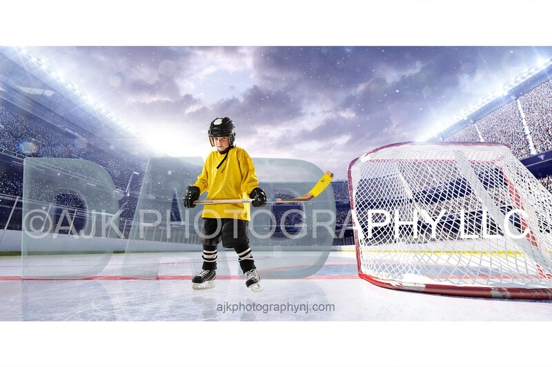 Giant ice letters spelling DAD on an ice hockey rink, Fathers Day digital background