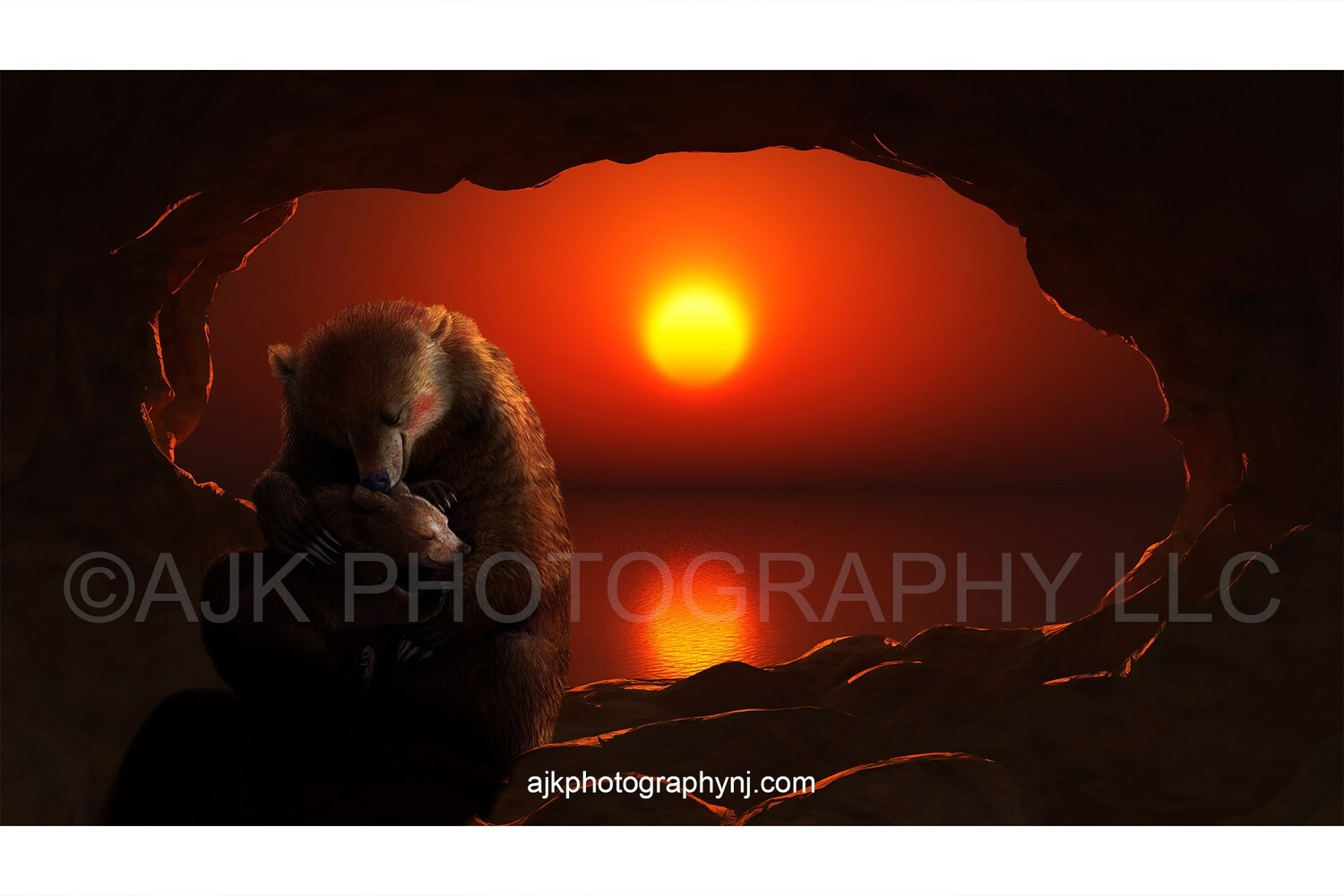 Bear digital background, mother bear hugging baby cub in cave at sunset, digital background