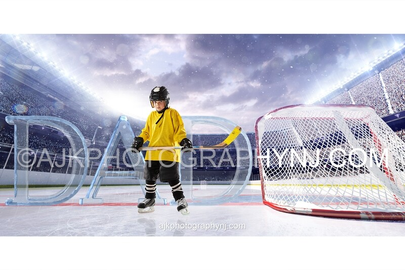 Giant ice letters spelling DAD on an ice hockey rink, Fathers Day digital background, version # 2
