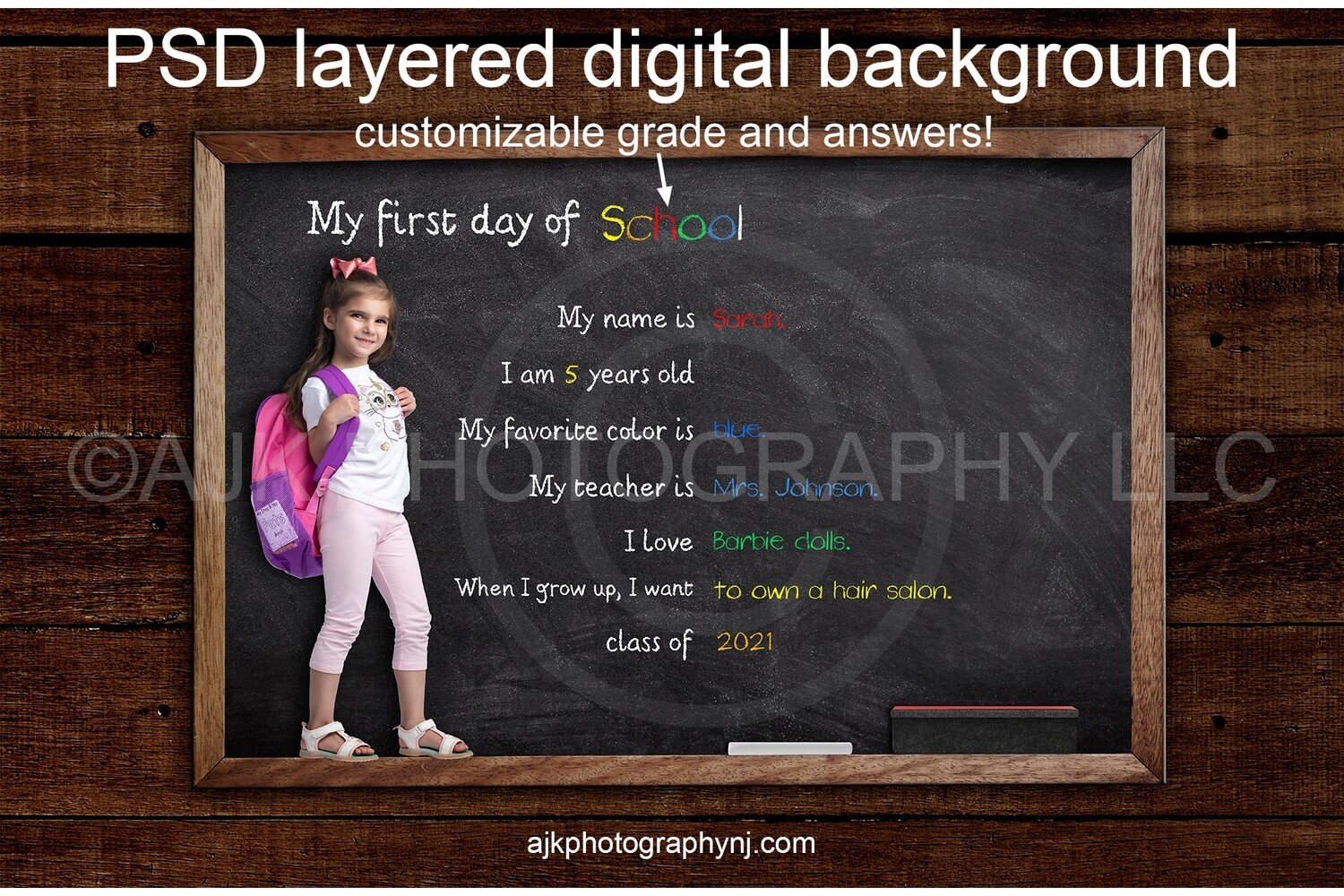 First day of school customizable PSD digital background, back to school backdrop