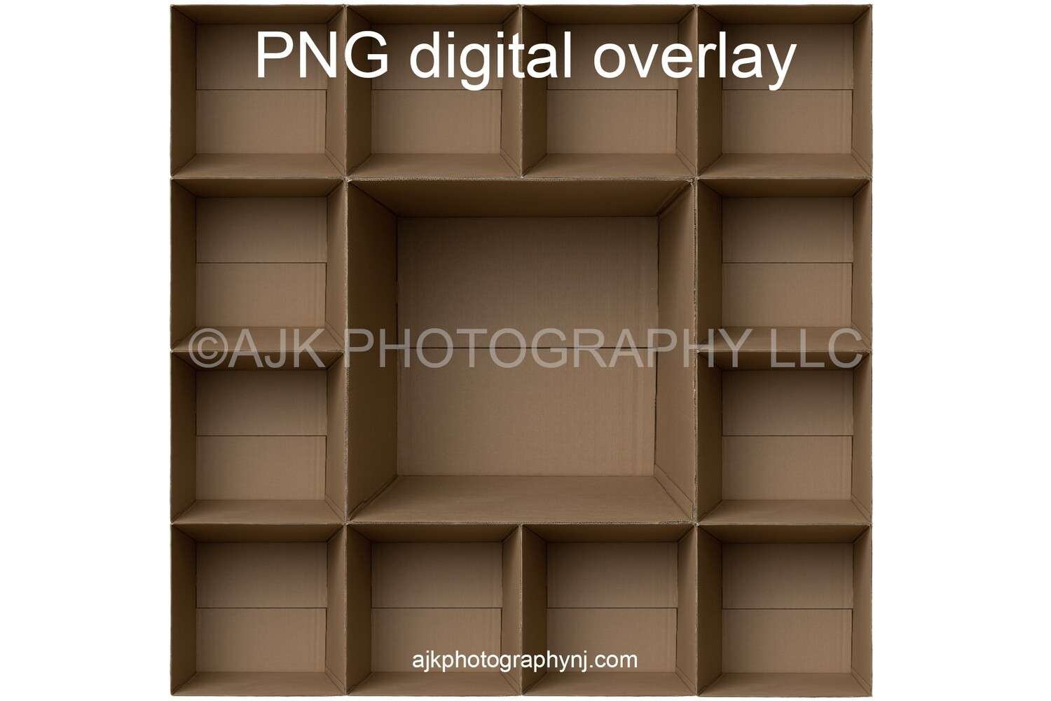 13 empty cardboard boxes template, inside the box, 12 students and 1 teacher, class photo template, PNG Digital Overlay