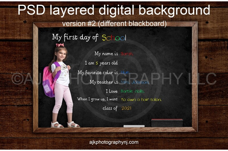 First day of school customizable PSD digital background, back to school backdrop, version #2