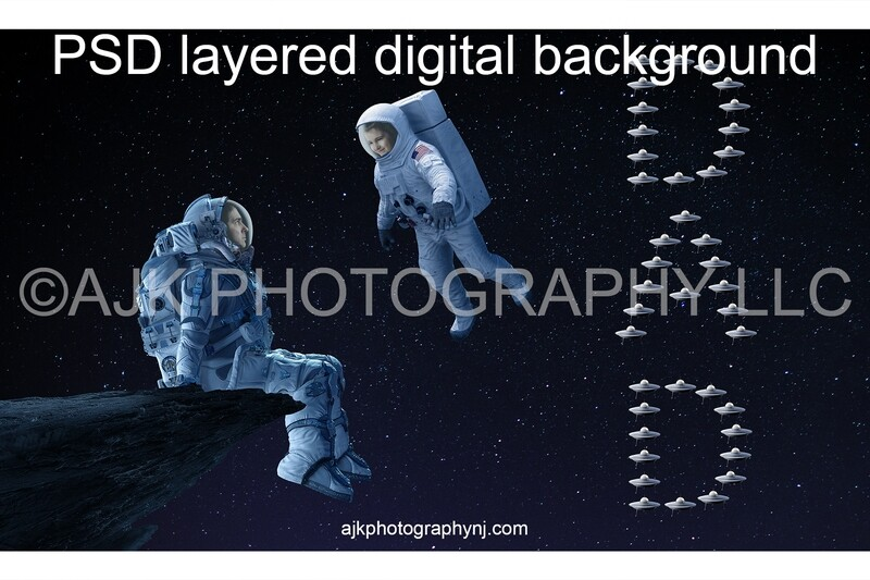 Father's Day digital background, astronaut sitting on asteroid in front of a child astronaut and little spaceships spelling dad, astronaut digital backdrop