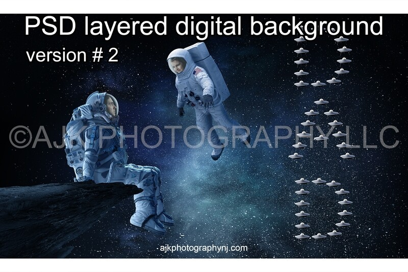 Father's Day digital background, astronaut sitting on asteroid in front of a child astronaut and little spaceships spelling dad, astronaut digital backdrop version #2