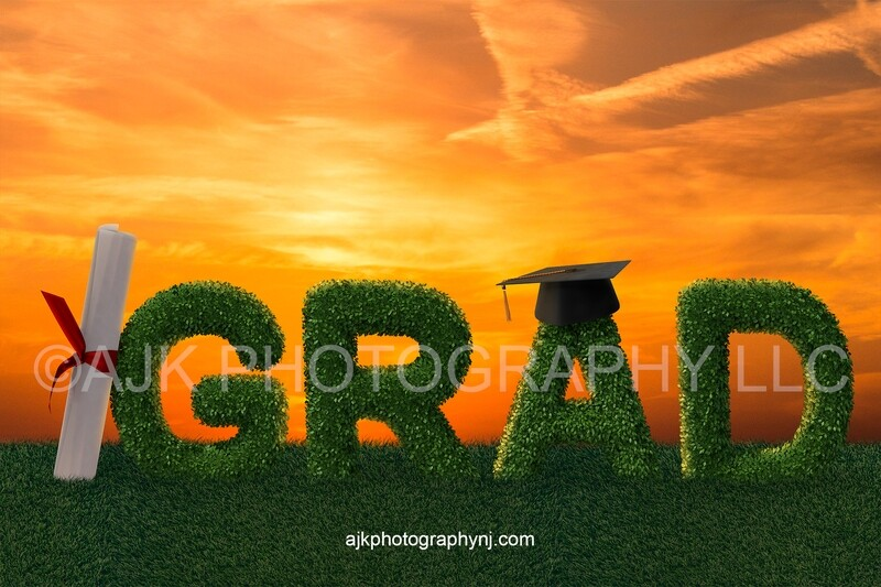 Giant bush letters spelling GRAD with a giant diploma against the G and giant graduation cap on the A in grassy field and gold sky, Graduation digital backdrop