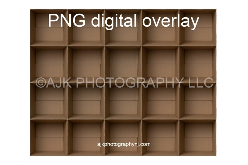 20 empty cardboard boxes template, class photo template, PNG Digital Overlay