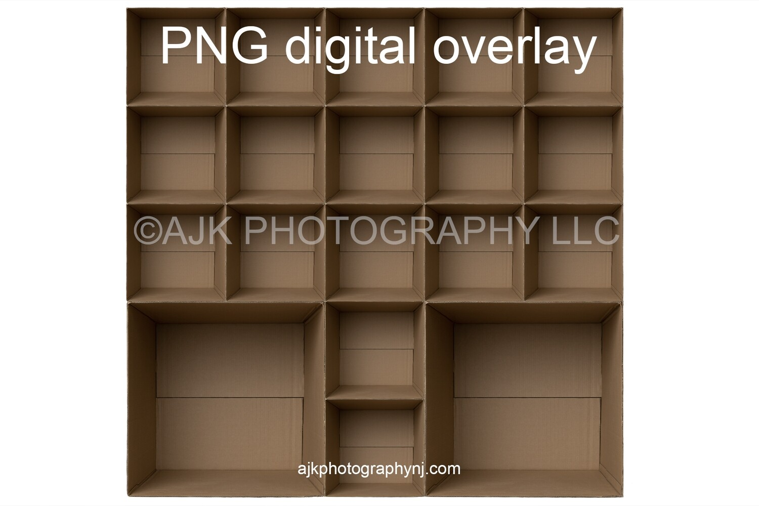 19 empty cardboard boxes template, class photo template, 2 teachers, 17 students, PNG Digital Overlay