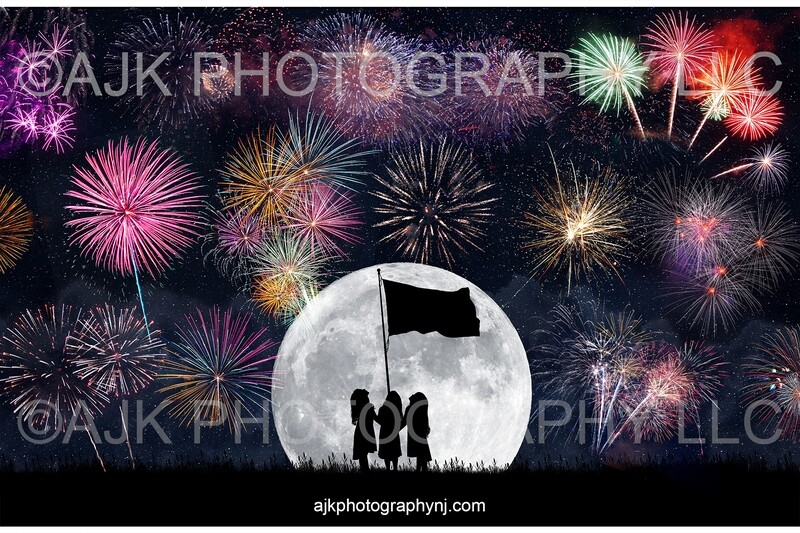 Fireworks in Moon Silhouette with Flag Digital Backdrop - Fourth of July, Independence Day, silhouette digital background