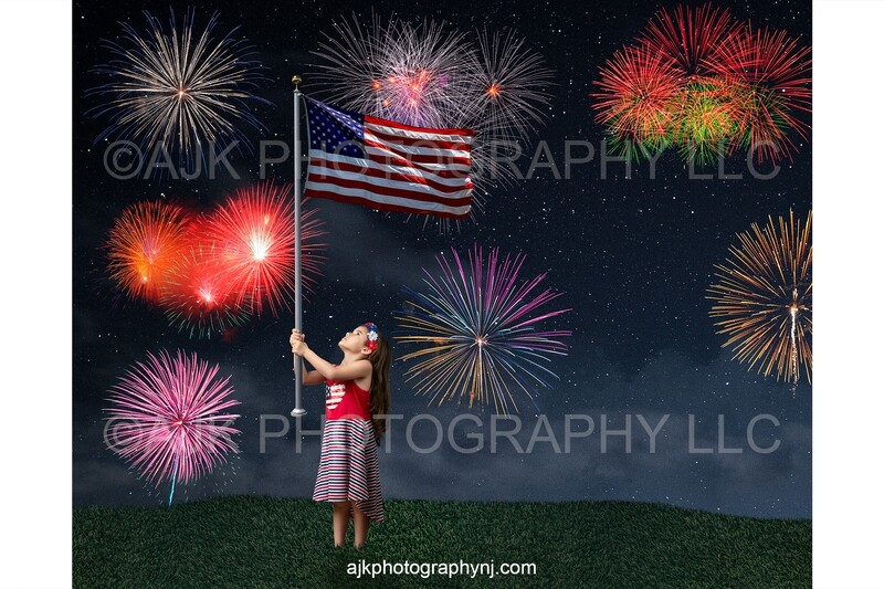 Fourth of July digital background, fireworks in sky, subject holding flag, Independence Day digital backdrop