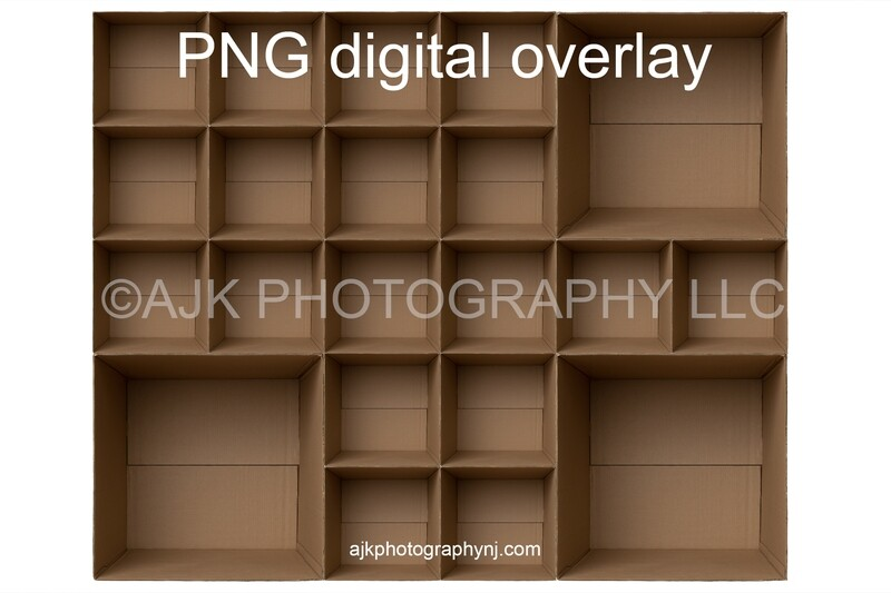 21 empty cardboard boxes template, class photo template, 3 teachers, 18 students, PNG Digital Overlay
