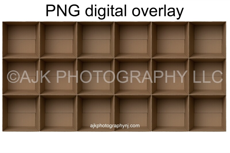 18 empty cardboard boxes template, class photo template, PNG Digital Overlay