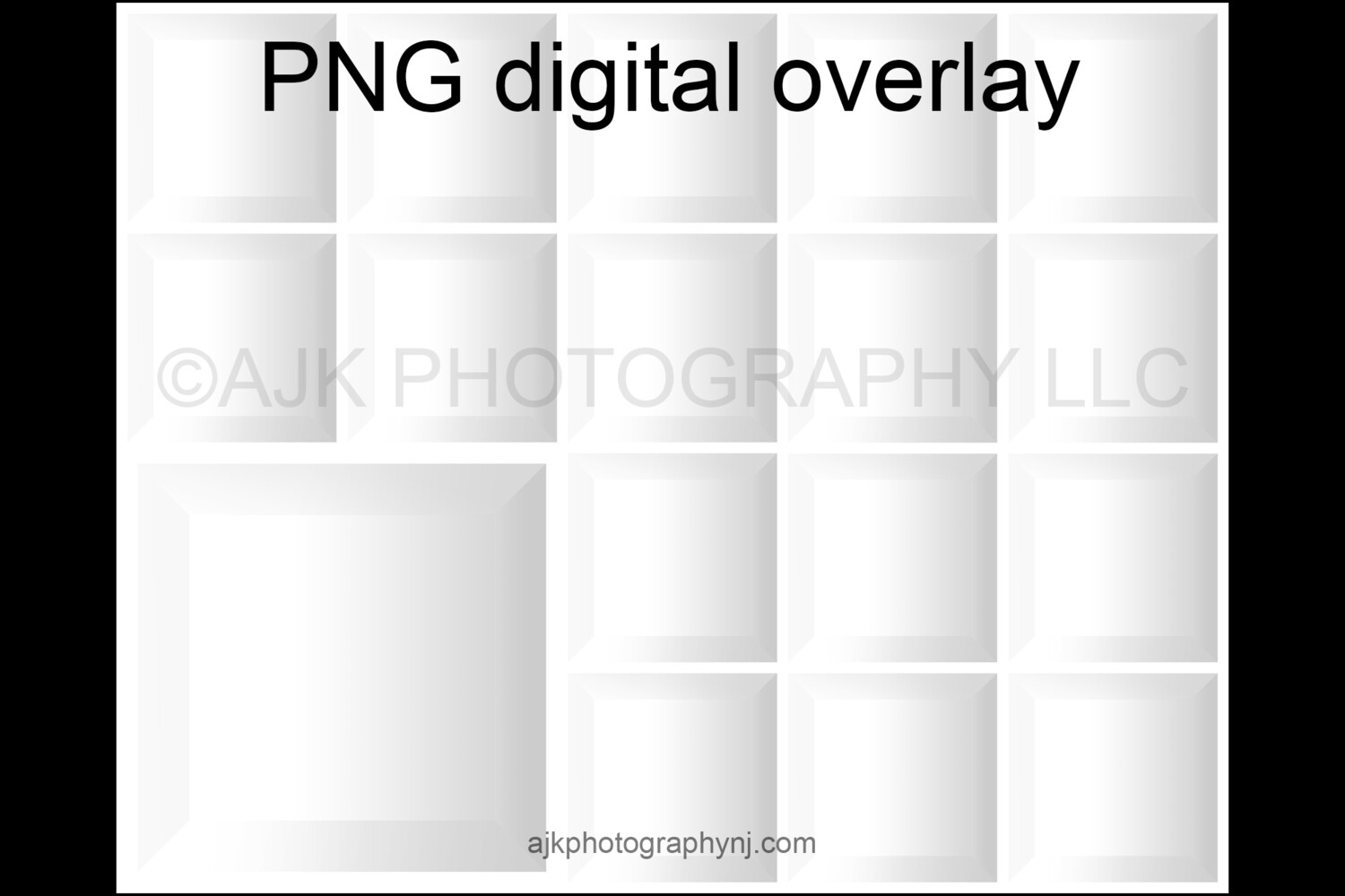 17 empty white boxes template, inside the box, 16 students and 1 teacher, class photo template, PNG Digital Overlay