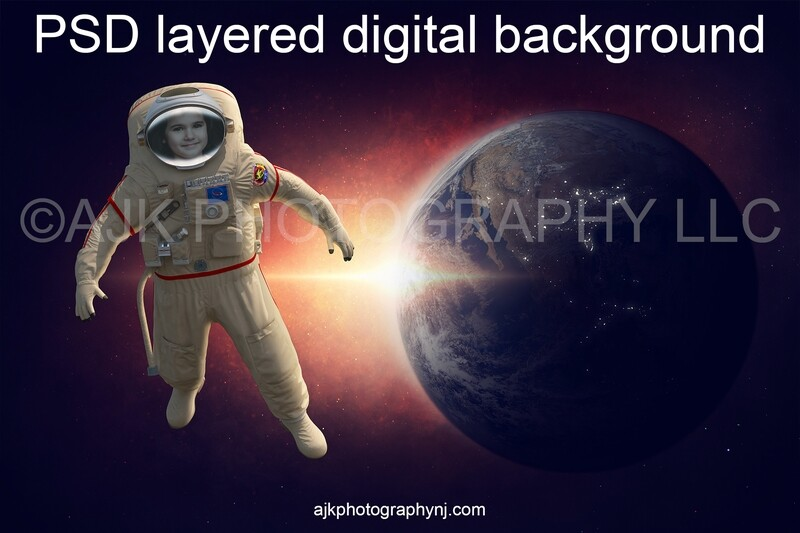 Astronaut digital background, one astronaut in outer space floating in front of the Earth and sun flare, digital backdrop